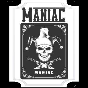 Maniac Card Design mit Totenkopf und Messer