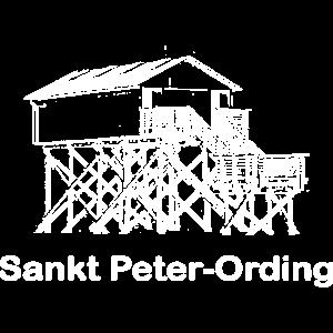 Pfahlbau mit Text Sankt Peter Ording weiß