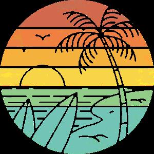retro sunset Strand Palmen Surfbrett