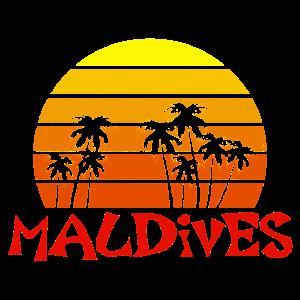 Malediven Palmen Sonnenuntergang Urlaub Retro