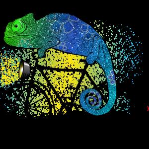 Chamäleon mit Fahrrad I Farbenfroh und Sportlich