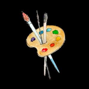 Palette, Farben und Pinsel