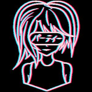Anime Vaporwave Mädchen