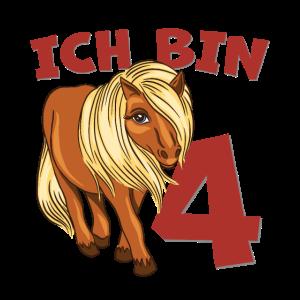 Pony zum 4. Geburtstag 4 Jahre Pferdemotiv