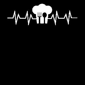 Koch Kochmütze Herzschlag Puls Geschenk