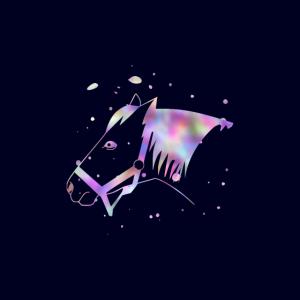 Pferd Pastellfarben blau Gesichtsmaske