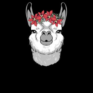 Süßes Lama mit Blumen Geschenk I Alpaka