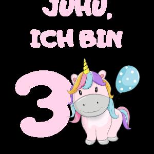 3 Geburtstag 3 Jahre Einhorn Pferd Mädchen Rosa