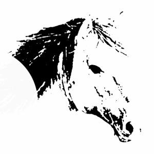 Pferd als schwarze Silhuette