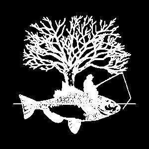 Angler Fisch Baum Kunst kreativ Fischer Geschenk