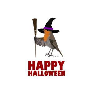 Happy Halloween Rotkehlchen Hexenhut Hexenbesen