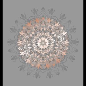 Rose Gold Gray Florales Mandala