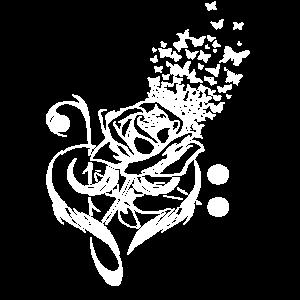 Rose mit Schmetterlinge Flora Geschenk
