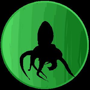 Grüner Hintergrund mit Tintenfisch Meerestier