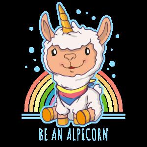 Einhorn Alpaka Baby Design mit Regenbogen Lama