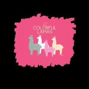 Farbenfroher Mund-Nasenschutz mit Lamalogo