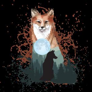 Fuchs Hund Wolf mit Vollmond Mond Natur Geschenk