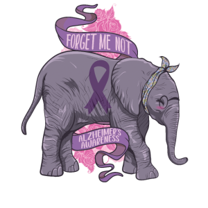 Alzheimer Awareness Elephatn Purple Ribbon