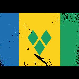 St Vincent and the Grenadines Flagge - Vintage Gru