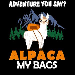 Adventure You Say? Alpaca My Bags Funny Vintage Tr