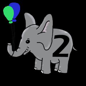Zweiter Geburtstag | Baby Elefant mit Luftballons