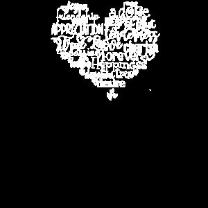Liebeswortwolke Liebesherz geformte Wortkunst