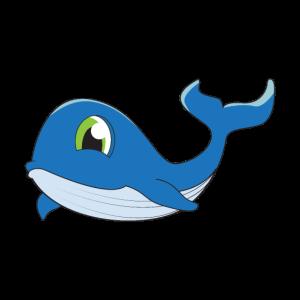 Blauwal kleiner blauer Wal niedlich für Kinder