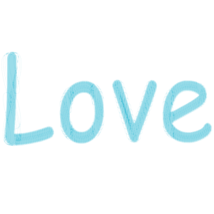 Love himmelblau Schriftzug