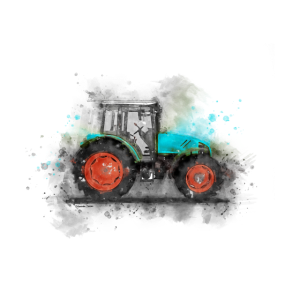 Traktor im Aquarell Design, Bulldog, Bauer, Bunt
