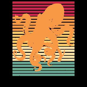 Oktopus Retro Tintenfisch Geschenk Idee Meerestier