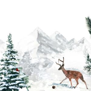 Wintermotiv mit Rentier