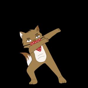 Katze mit rotem Tuch