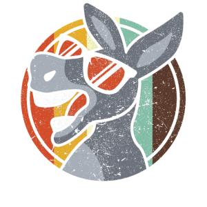 Vintage Esel Donkey Cartoon Pferd Lama Tier Motiv