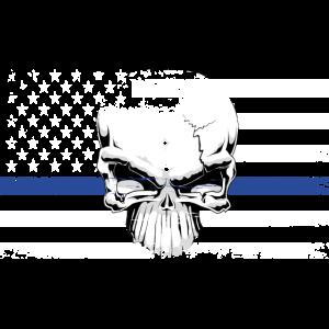 USA Flagge BlueLine mit Totenkopf