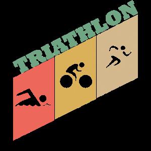 Triathlon Geschenk Vinatage Retro Triathlete Sport