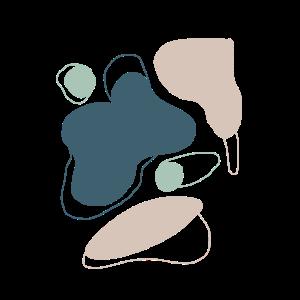abstrakt blau beige Muster Formen Poster hoch