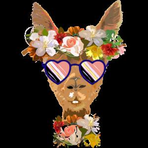Lama mit Blumen und Sonnenbrille