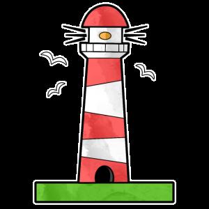Leuchtturm Wiese Möwen