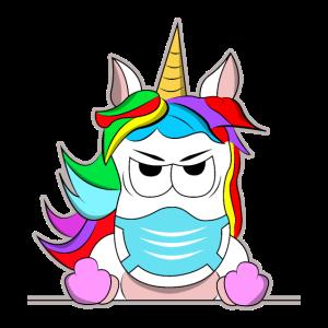 Einhorn Corona Maske Mittelfinger Lustig Geschenk
