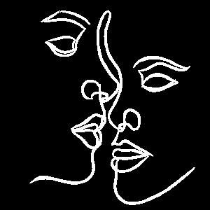 Weibliche Gesichter verliebt