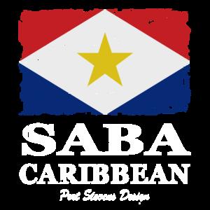 Saba Flagge - Flag of Saba - Shabby Look - vintage