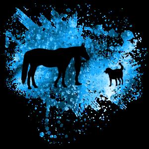 Pferde - reiten - blau - graffiti - hund - team