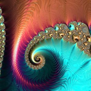 Bunte Fraktale Muster Ornamente Fibonacci Spirale