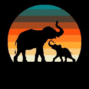 Elefant Vintage Retro Safari Geschenk