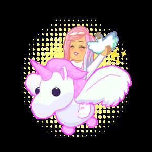 Fliegendes Einhorn mit pinkhaarigem Mädchen