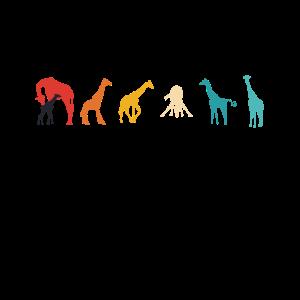 Giraffen Silhouetten Retrofarben coole Geschenke