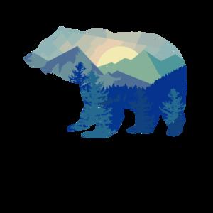 Bear Silhouette Mountain Wildlife Animal