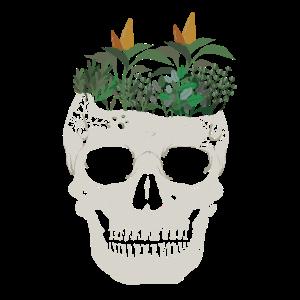 Totenkopf mit Pflanzen