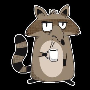Schlecht gelaunter Waschbär mit Kaffee