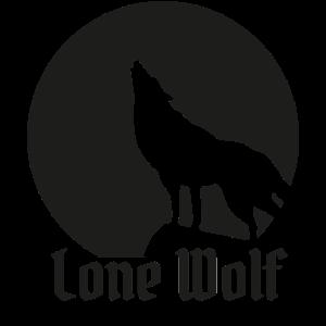 Einsamer Wolf flat design schwarz